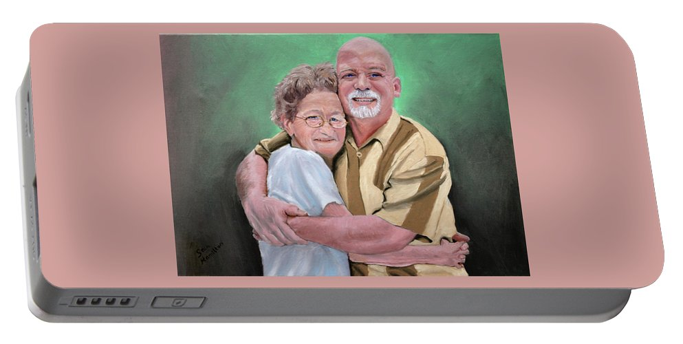 Portrait Portable Battery Charger featuring the painting Mom And Son by Stan Hamilton