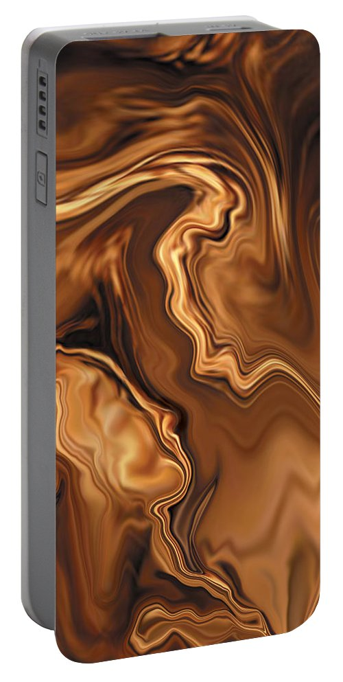 Abstract Adam Art Blue Brown Copper Digital Eve Figurative Khan Kiss Love Night Passion Rabi_khan Se Portable Battery Charger featuring the digital art Moment Before The Kiss by Rabi Khan