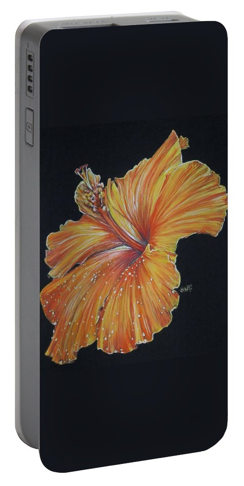 Hibiscus Portable Battery Charger featuring the painting Momentous by Barbara Keith