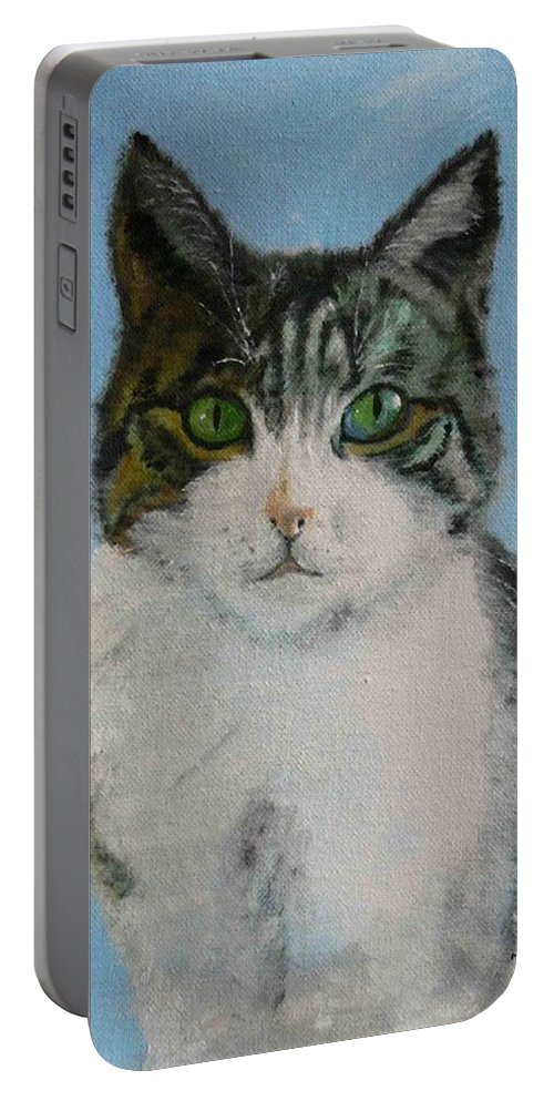 Tomcat Portable Battery Charger featuring the painting Momo by Helmut Rottler