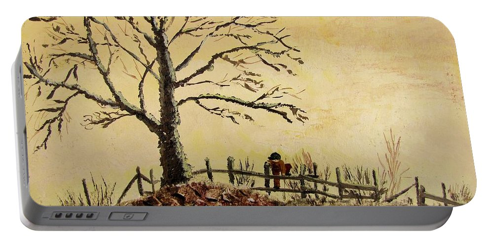 Boy With Dog Portable Battery Charger featuring the painting Mom's Calling by Marilyn Smith