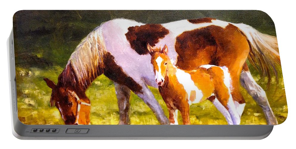 Horse Colt Portable Battery Charger featuring the painting Mom's Favorite by R W Carlson