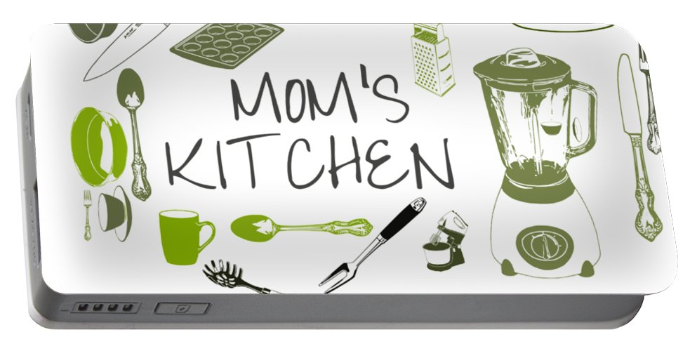 Mom Portable Battery Charger featuring the digital art Moms Retro Kitchen Cookware by Anne Kitzman
