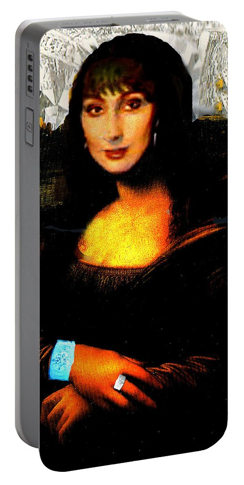Mona Cher Portable Battery Charger featuring the digital art Mona Cher by Seth Weaver