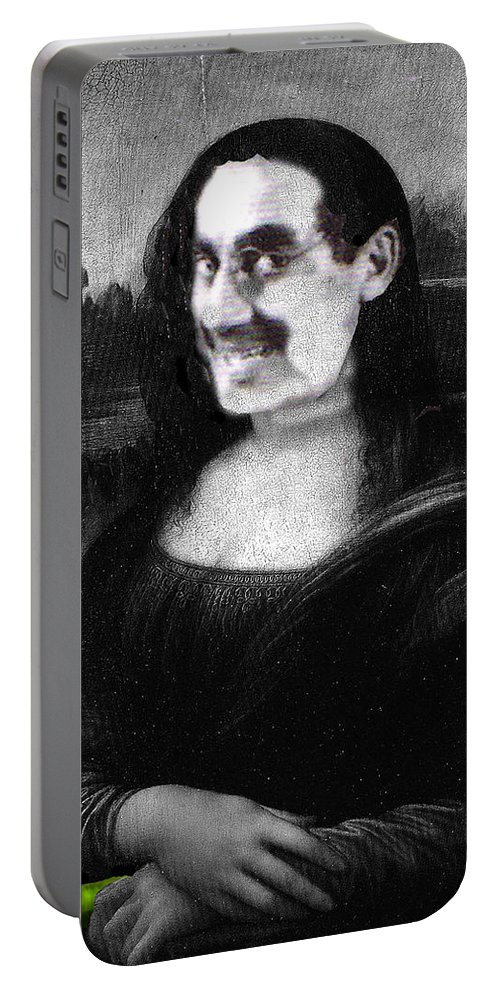 Mona Lisa Portable Battery Charger featuring the digital art Mona Grouchironi by Seth Weaver
