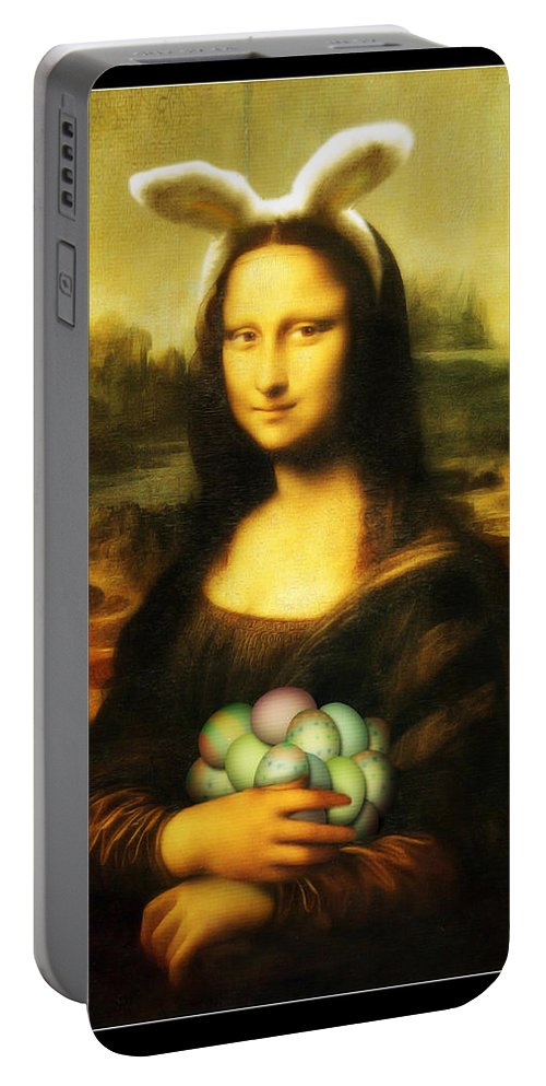 Portrait Portable Battery Charger featuring the painting Mona Lisa Easter Bunny by Gravityx9 Designs