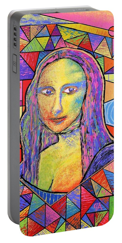 Mona Portable Battery Charger featuring the painting Mona Lisa - Jeremy Style by Jeremy Aiyadurai