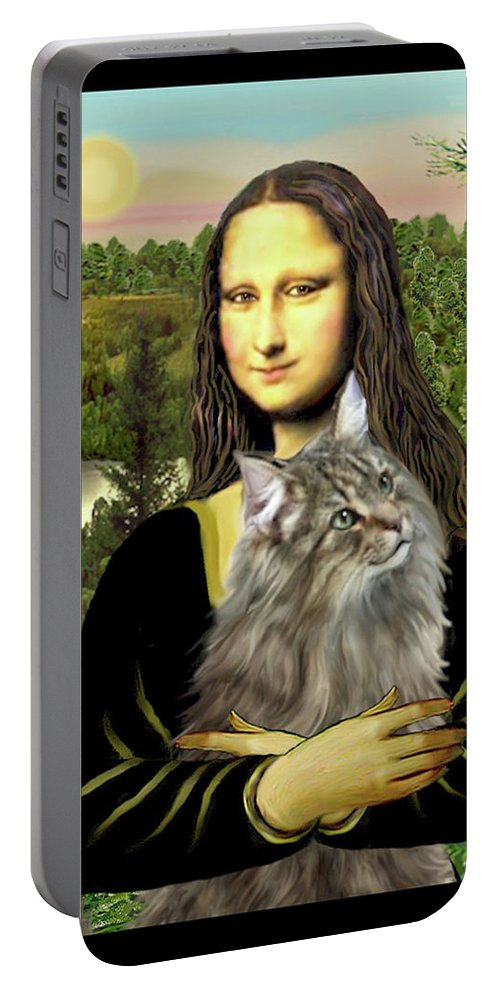 Cat Portable Battery Charger featuring the digital art Mona Lisas Norwegian Forest Cat by Jean Batzell Fitzgerald