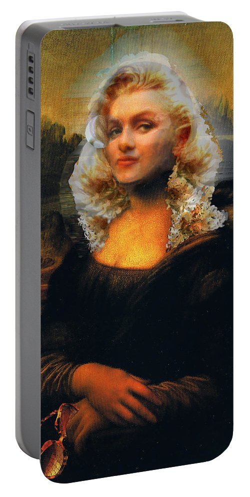 Mona Lisa Portable Battery Charger featuring the digital art Mona Marilyn by Seth Weaver
