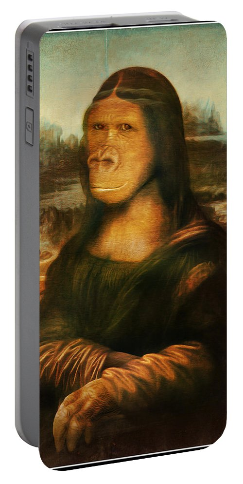 Primate Portable Battery Charger featuring the painting Mona Rilla by Gravityx9 Designs