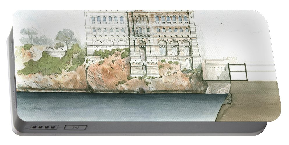 Oceanographic Museum Monaco Portable Battery Charger featuring the painting Monaco Oceanographic Museum by Juan Bosco