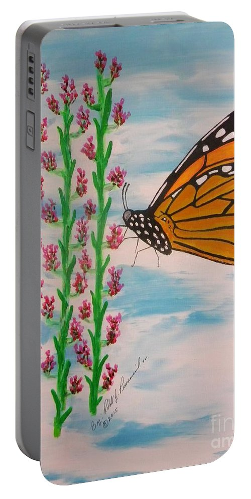 Monarch Butterfly Portable Battery Charger featuring the painting Monarch Heaven by Robert Provencial