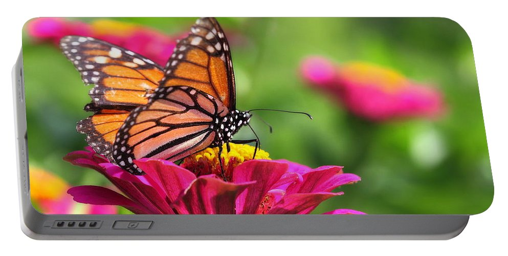 Pink Portable Battery Charger featuring the photograph Monarch Visiting Zinnia by Angela Rath