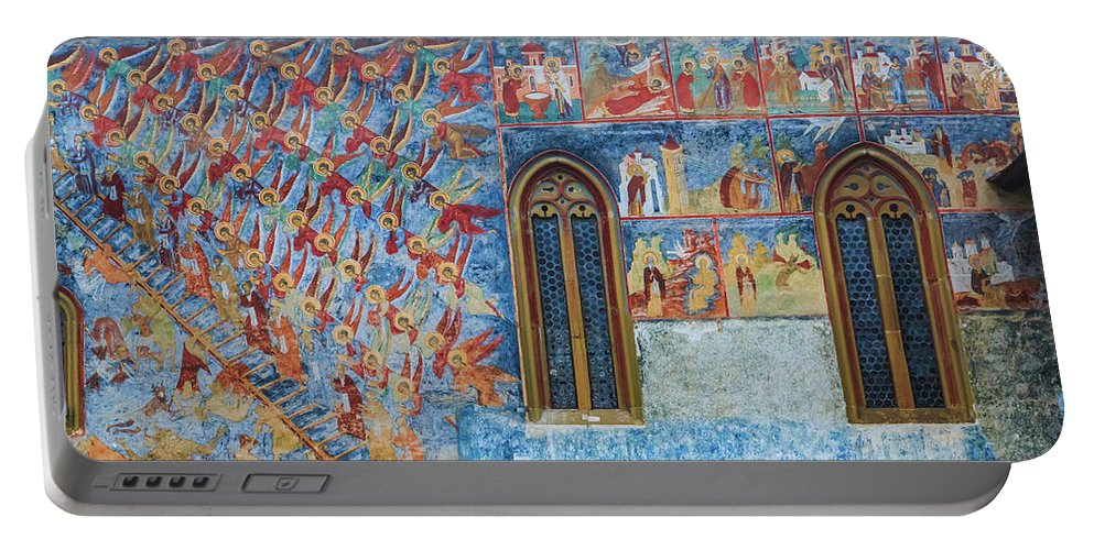 Bucovina Portable Battery Charger featuring the photograph Monastery Angels by Emily M Wilson