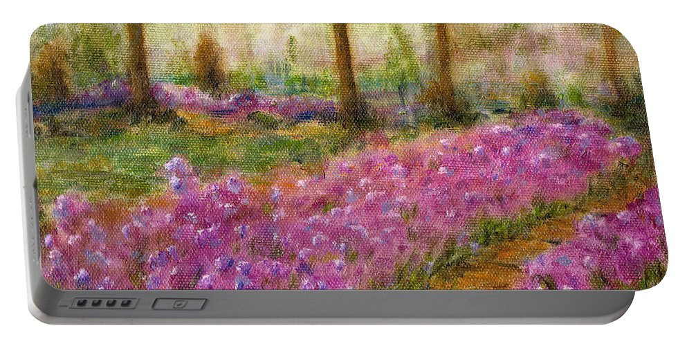 Monet Portable Battery Charger featuring the painting Monet's Garden In Cannes by Jerome Stumphauzer