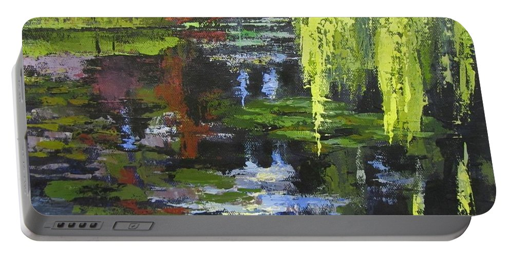 Garden Portable Battery Charger featuring the painting Monets Garden Painting Palette Knife by Chris Hobel
