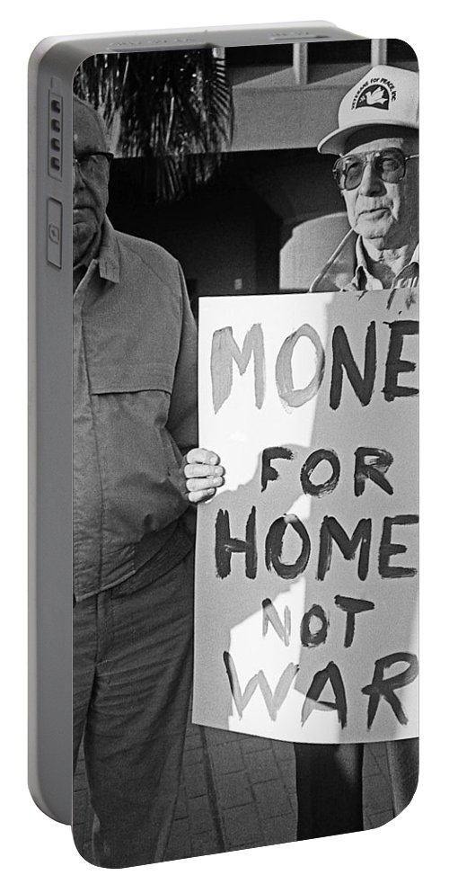 Money For Homes Not War Anti Gulf War Rally Tucson Arizona 1991 Portable Battery Charger featuring the photograph Money For Homes Not War Anti Gulf War Rally Tucson Arizona 1991 by David Lee Guss