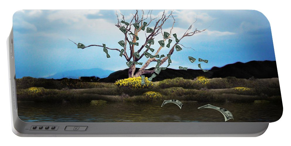 Money Tree Portable Battery Charger featuring the photograph Money Tree On A Windy Day by Gravityx9  Designs