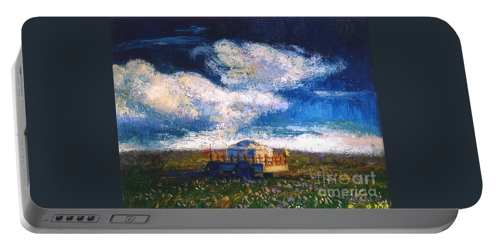 Momgolian Portable Battery Charger featuring the painting Mongolian Home by Meihua Lu