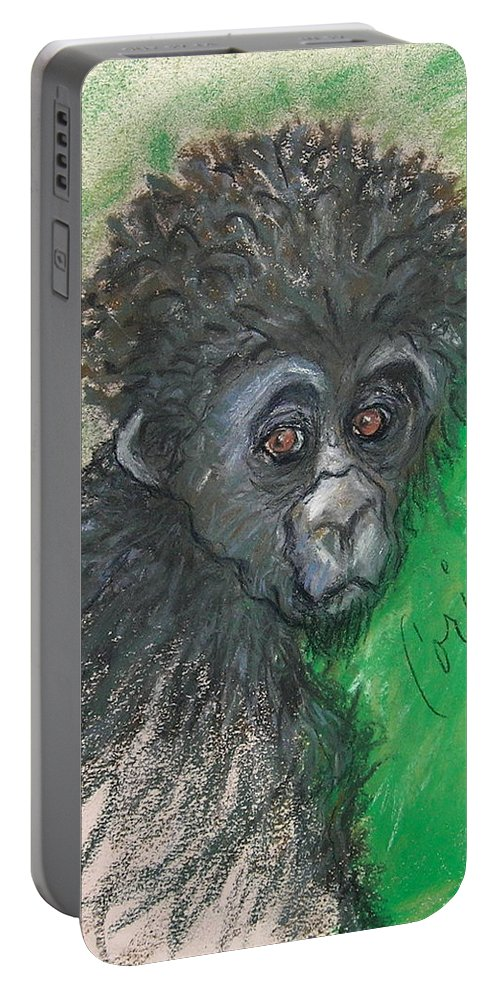 Monkey Portable Battery Charger featuring the drawing Monkey Business by Cori Solomon