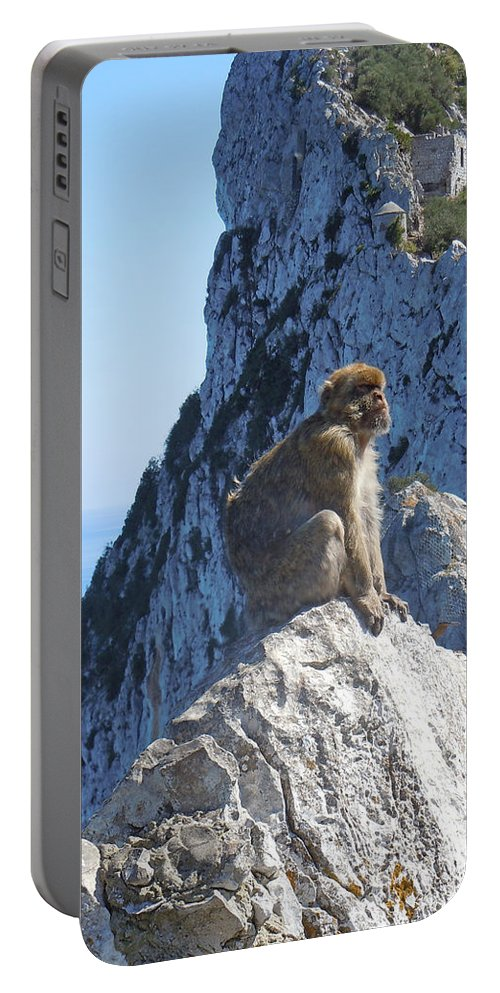 Europe Portable Battery Charger featuring the photograph Monkey In Gibraltar by Heather Coen