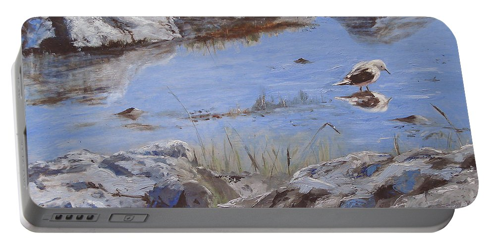 Animal Portable Battery Charger featuring the painting Mono Lake by Barbara Andolsek