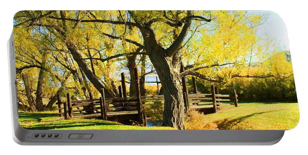 Bridge Portable Battery Charger featuring the photograph Mono Lake Garden Bridge by Tommy Anderson