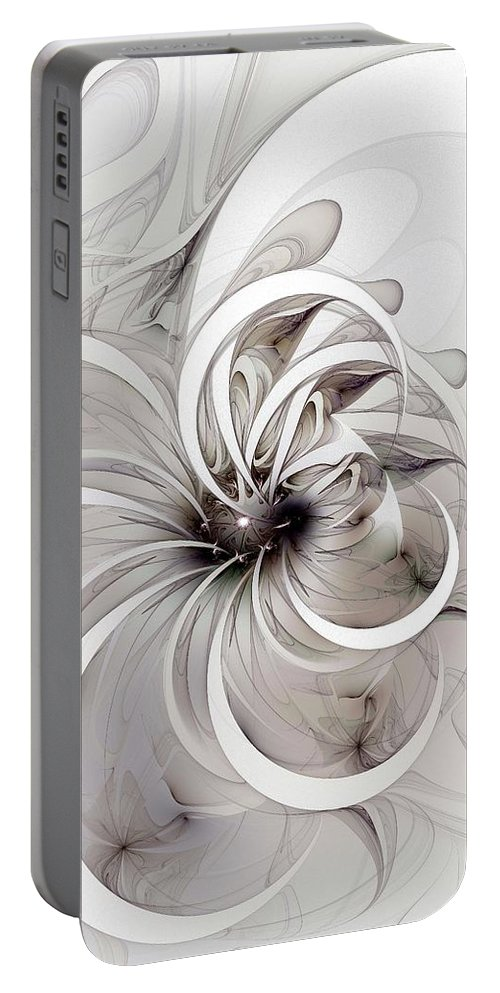 Digital Art Portable Battery Charger featuring the digital art Monochrome Flower by Amanda Moore