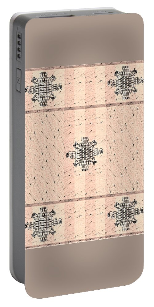 Monograms Portable Battery Charger featuring the tapestry - textile Monogram Qm Stripes Mauvecharcoal 2 by Christine McCole