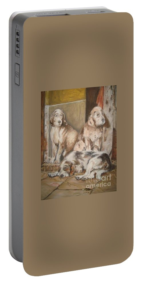 Realistic Portable Battery Charger featuring the painting Monotony by Rushan Ruzaick