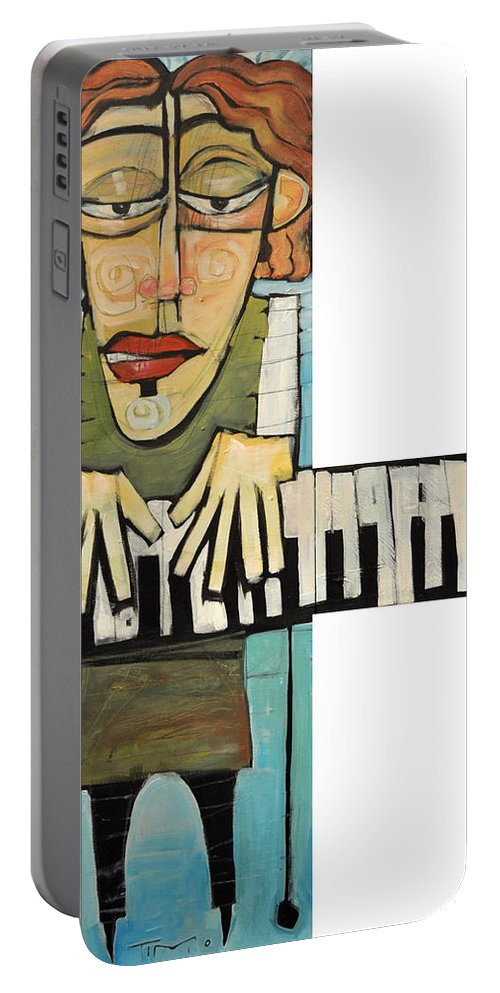 Piano Portable Battery Charger featuring the painting Monsieur Keys by Tim Nyberg