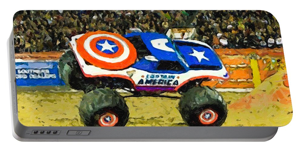 Monster-jam-capitain-america-freestyle-monster-truck Portable Battery Charger featuring the painting Monster Jam by Jeelan Clark