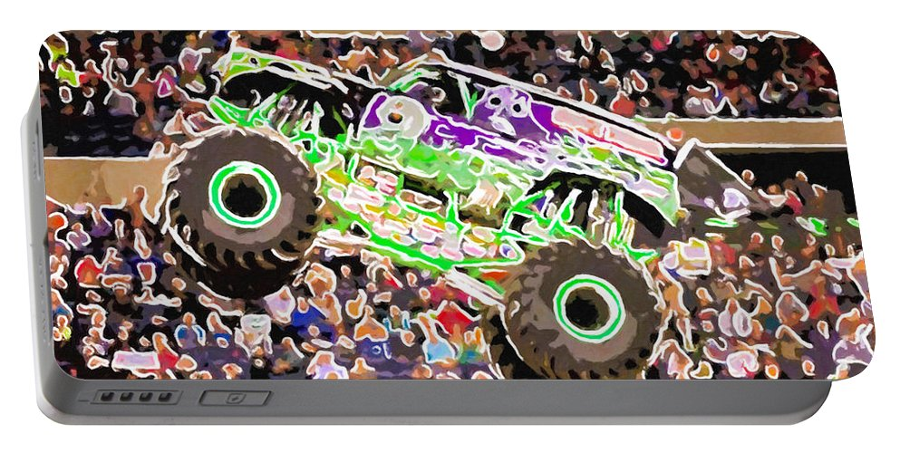 Monster Jam Orlando Fl 2014 Field Of Trucks Portable Battery Charger featuring the painting Monster Jam Orlando Fl by Jeelan Clark