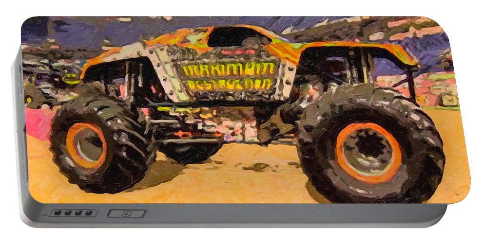 Monster Portable Battery Charger featuring the painting Monster Jam Party In The Pits by Jeelan Clark