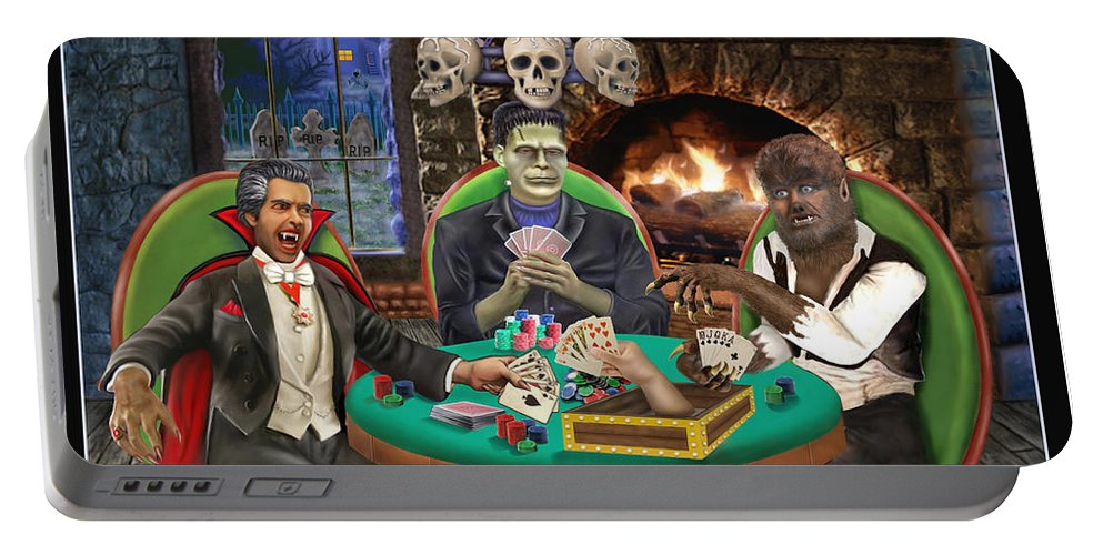Halloween Art Greeting Cards Portable Battery Charger featuring the digital art Monster Poker by Glenn Holbrook
