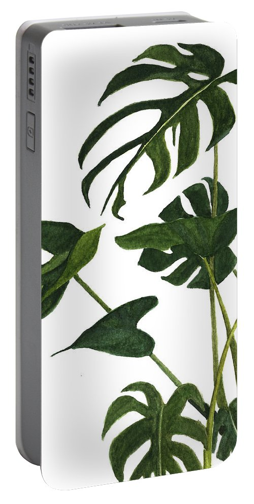 Watercolor Portable Battery Charger featuring the painting Monstera Bunch by Garima Srivastava