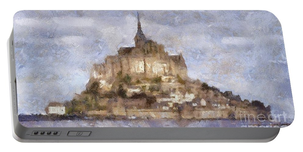 Mont Portable Battery Charger featuring the painting Mont Saint-michel, Normandy, France by Sarah Kirk