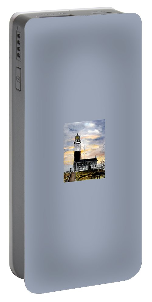 Montauk Point Portable Battery Charger featuring the painting Montauk Point Lighthouse by Derek Mccrea