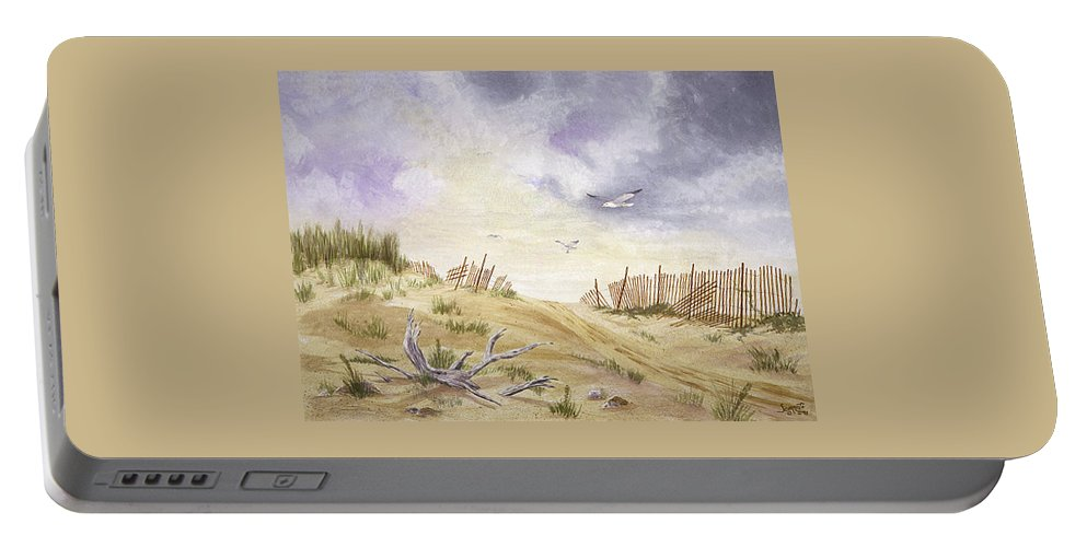 Portable Battery Charger featuring the painting Montauk Sand Dune by Tony Scarmato