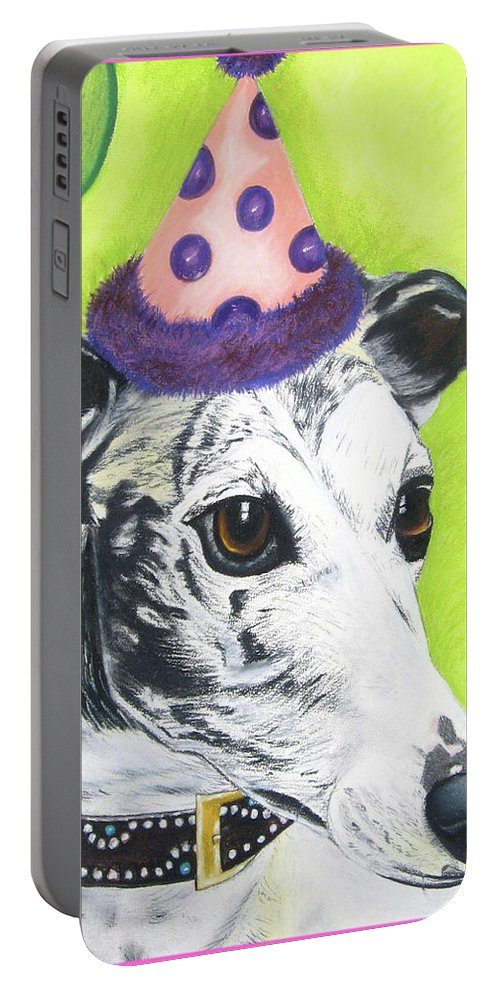 Dog Painting Portable Battery Charger featuring the pastel Monte by Michelle Hayden-Marsan