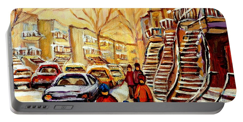 Montreal Portable Battery Charger featuring the painting Montreal City Scene In Winter by Carole Spandau