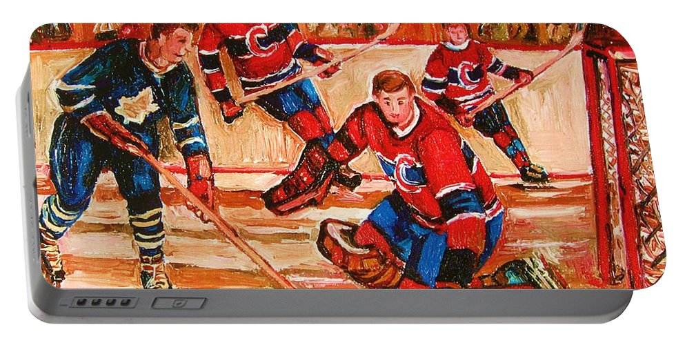 Montreal Forum Hockey Portable Battery Charger featuring the painting Montreal Forum Hockey Game by Carole Spandau