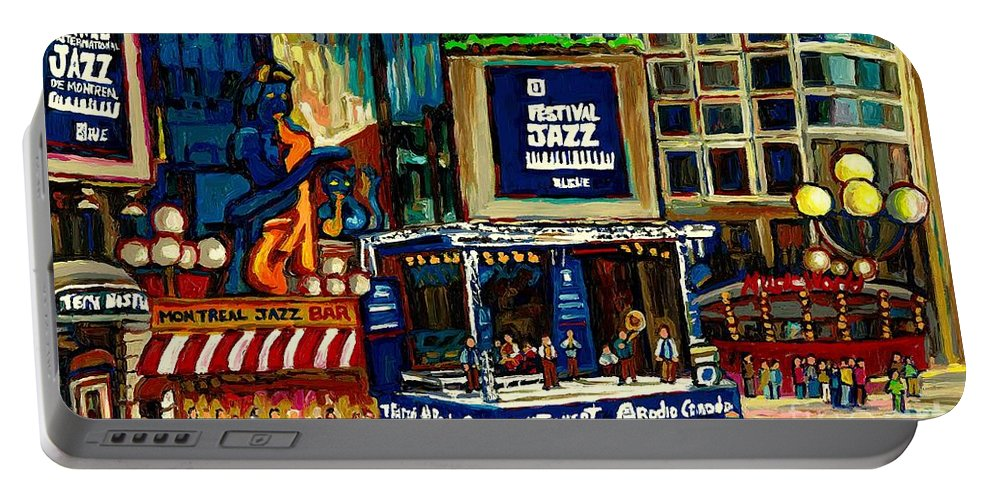 Montreal Portable Battery Charger featuring the painting Montreal Jazz Festival Arcade by Carole Spandau