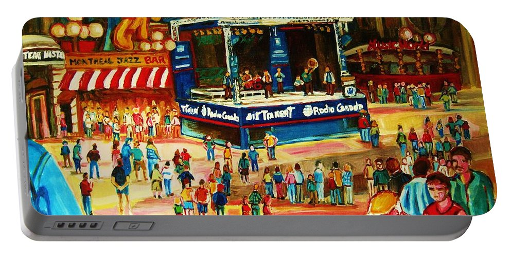 Montreal Portable Battery Charger featuring the painting Montreal Jazz Festival by Carole Spandau