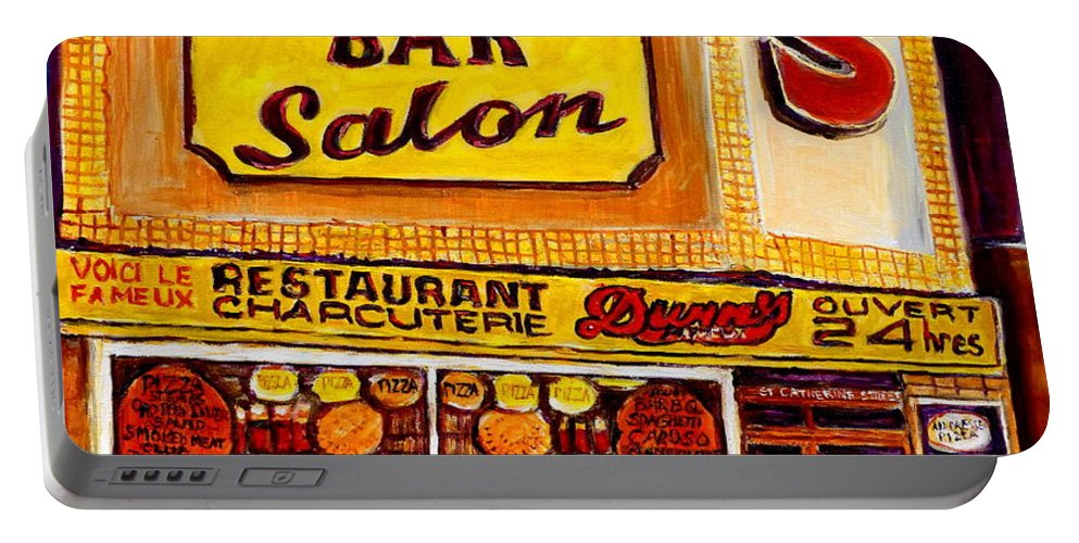 Montreal Portable Battery Charger featuring the painting Montreal Paintings Dunns Restaurant Streets Of Montreal by Carole Spandau