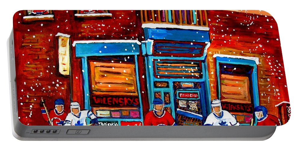 Montreal Portable Battery Charger featuring the painting Montreal Wilensky Deli By Carole Spandau Montreal Streetscene And Hockey Artist by Carole Spandau