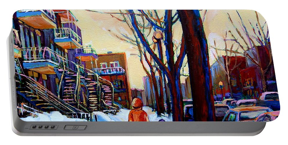 Montreal Portable Battery Charger featuring the painting Montreal Winter by Carole Spandau