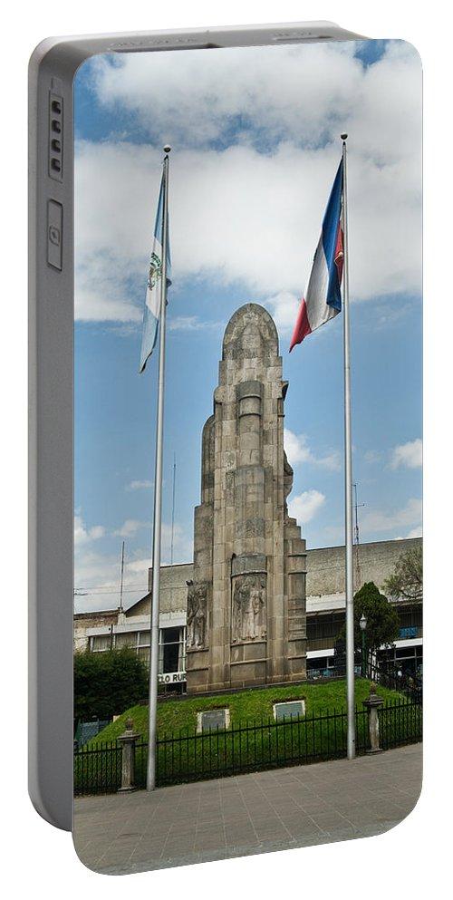 Quezaltenango Portable Battery Charger featuring the photograph Monument Central Square Quezaltenango Guatemala by Douglas Barnett
