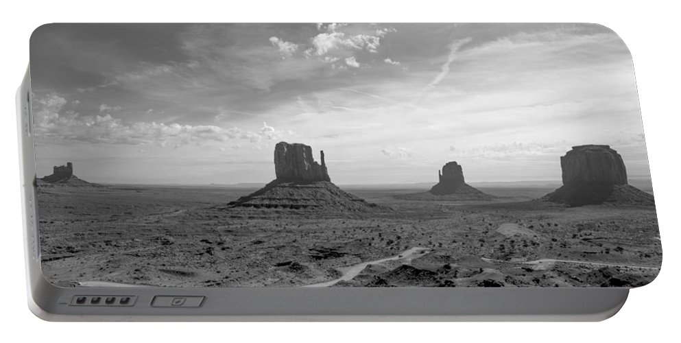 Monument Portable Battery Charger featuring the photograph Monument Valley Monochrome by Jim Allsopp