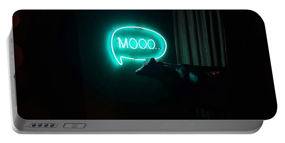 Funny Portable Battery Charger featuring the photograph Moo Night by Nadia Seme